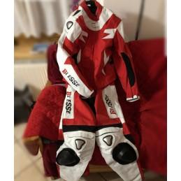 Biesse - Tuta moto divisibile pelle e tessuto Bianco-Rosso - fronte