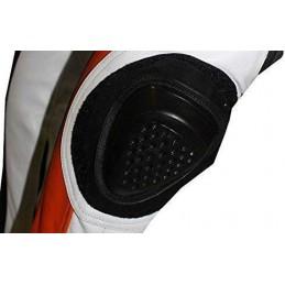 Biesse - Tuta moto divisibile pelle e tessuto Bianco-Rosso - protezioni CE