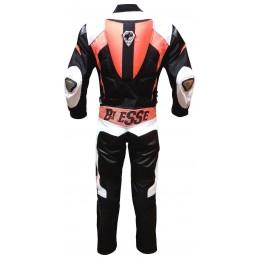 Tuta minimoto Biesse divisibile pelle e tessuto nero arancione - retro